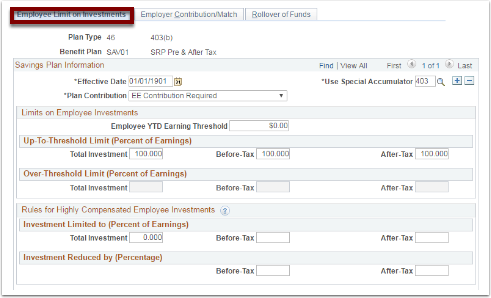 Employee Limit on Investments tab