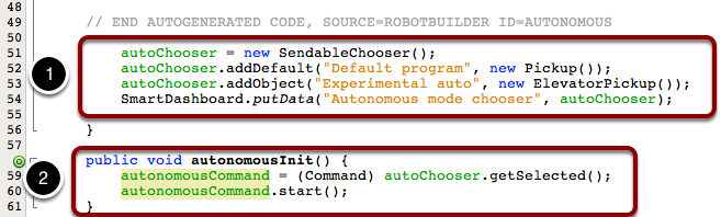 Set up the SendableChooser in the robotInit() method