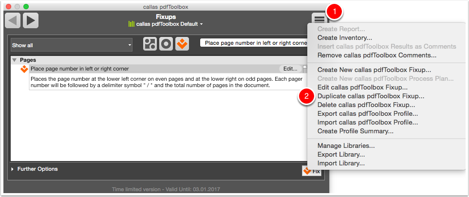 """Duplicate the Fixup """"Place page number in left or right corner"""""""