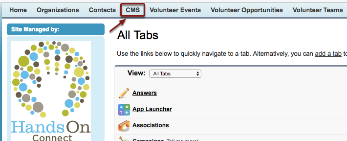 To start, click on the CMS Tab on the menu bar.