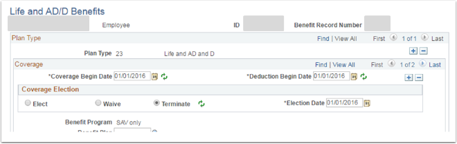 Life and AD/D Benefits page