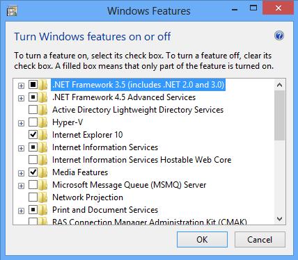 Windows Features (.NET Framework 3.5 not on)