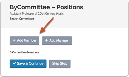 "Click ""Add Member"" to call up a list of available ByCommittee users who can serve on your committee"