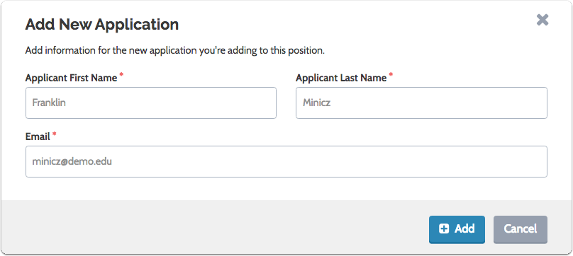 "Fill out the ""Add New Application"" form and click ""Add"""