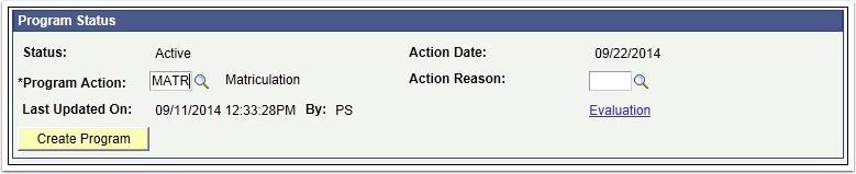 Program Status Section of the Application Program Data tab