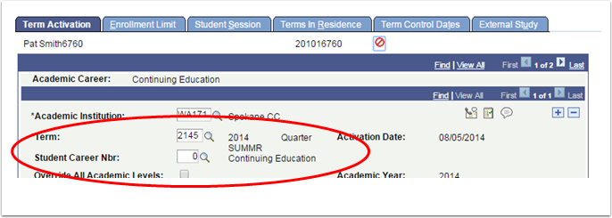 Term Activation tab - Student Career Number