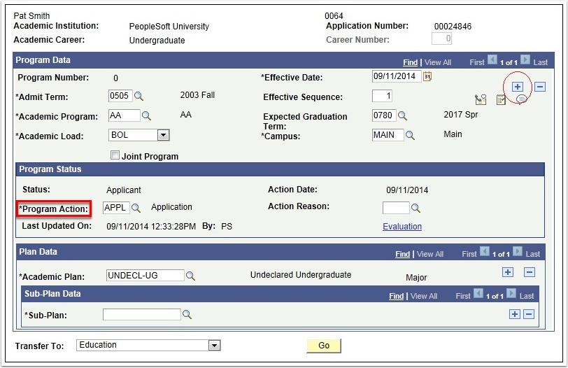 Application Program Data tab - Add a Row button