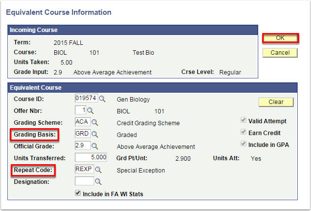 Equivalent Course Information page