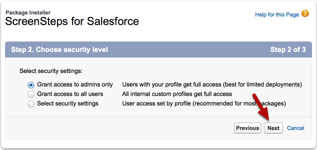 Choose Security Level