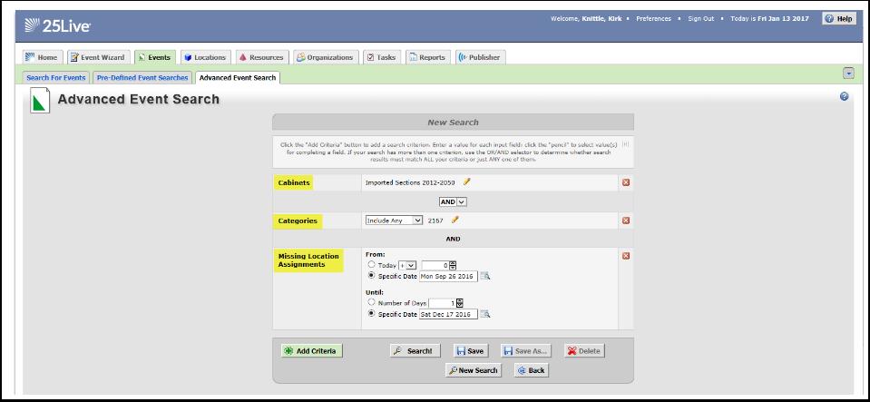 Advanced Event Search Criteria Results