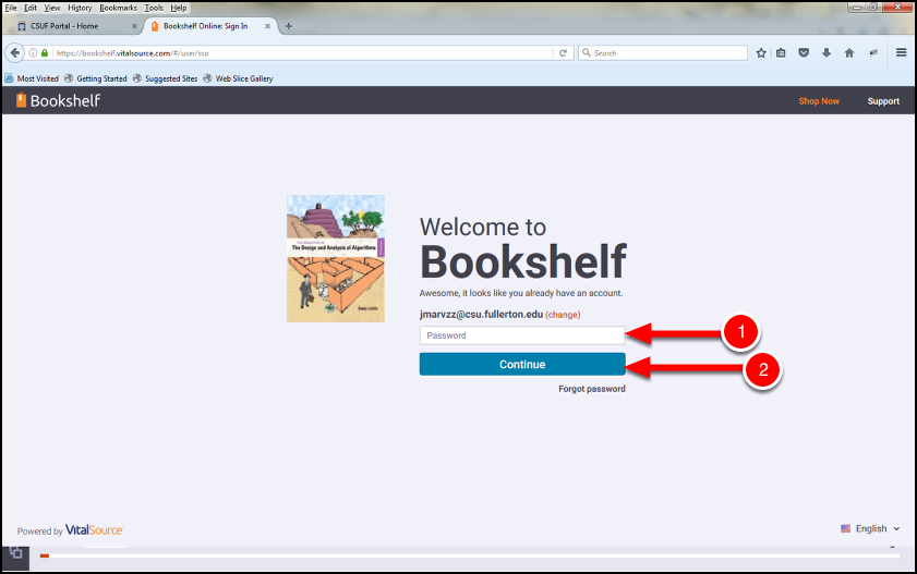 CSUF VitalSource Bookshelf account log in window.