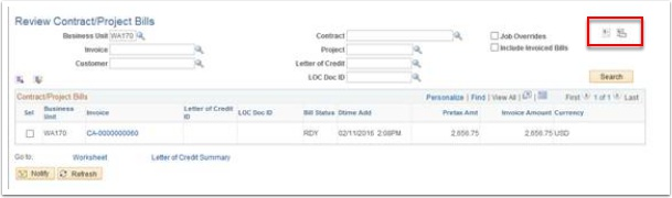 Review Contracts/Project Bills page - Pro Forma and Generate Invoice buttons highlighted