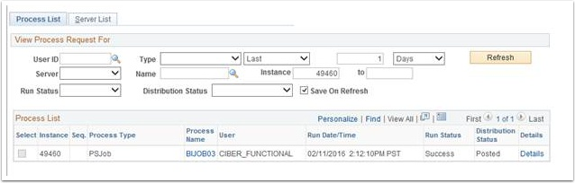 Process List page