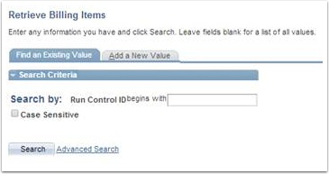 Retrieve Billing Items - Find an Existing Value tab