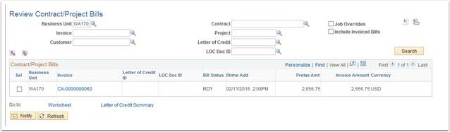 Review Contracts/Project Bills page