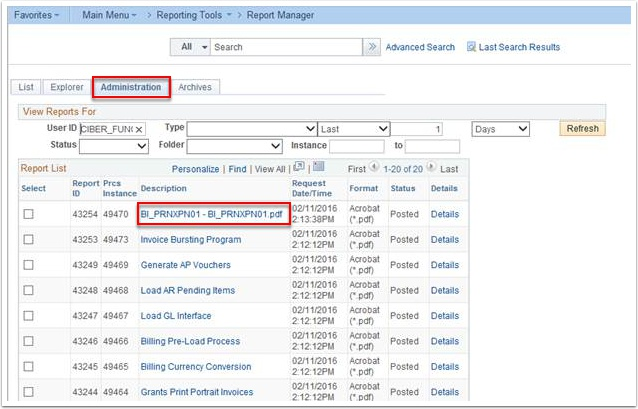 Report Manager Administration tab