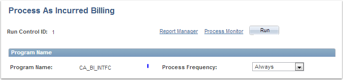 Process as Incurred Billing page