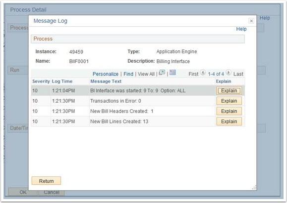 Process Deatil Message Log page