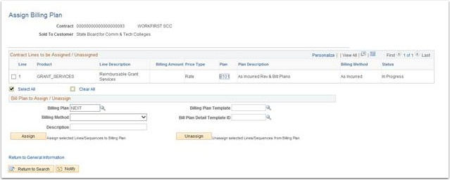 Assign Billing Plan page