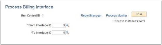 Process Billing Interface page