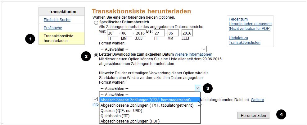 Transaktionsliste herunterladen