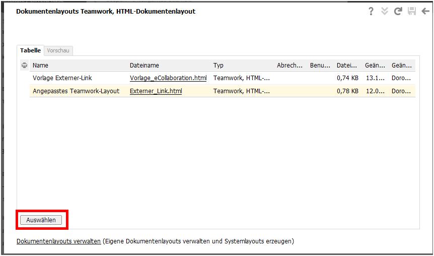 Angepasstes HTML-Layout als Standard einstellen