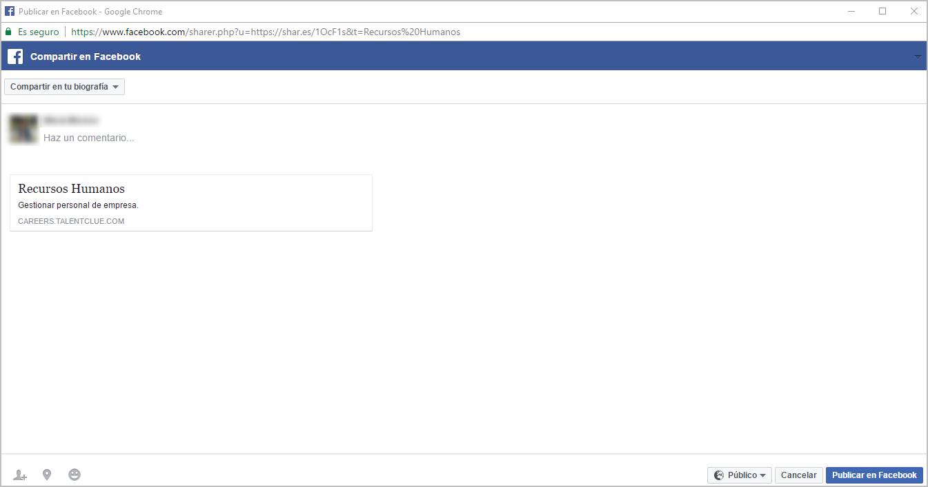 Ventana de Publicación de Facebook.