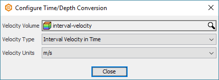 Select the velocity volume for time/depth conversion