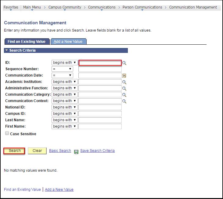 Communication Management page