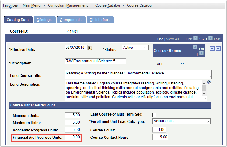Course Data tab - Financial Aid Progress Units = 0.00