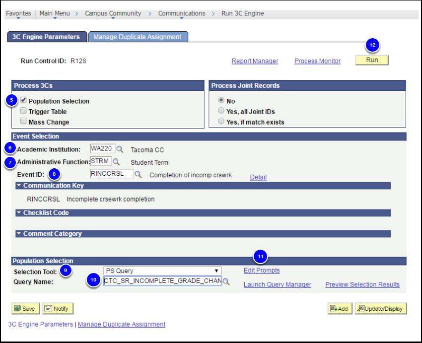 3C Engine Parameters