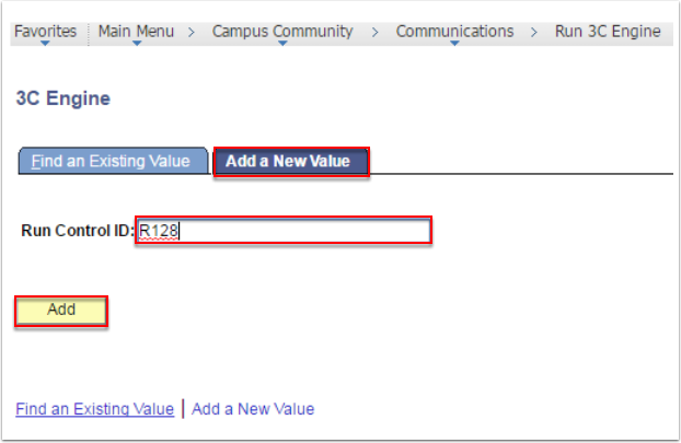 3C Engine page - Add a New Value tab