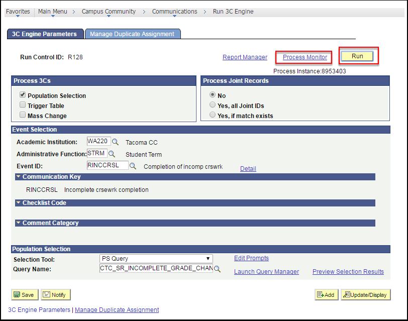 3C Engine Parameters tab