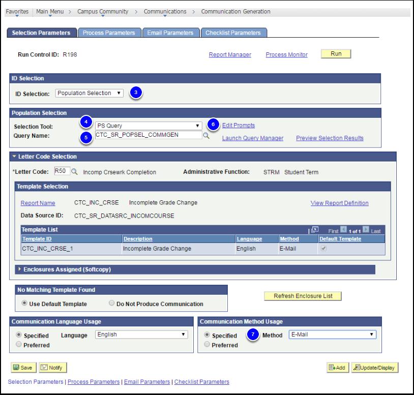 Selection Parameters tab