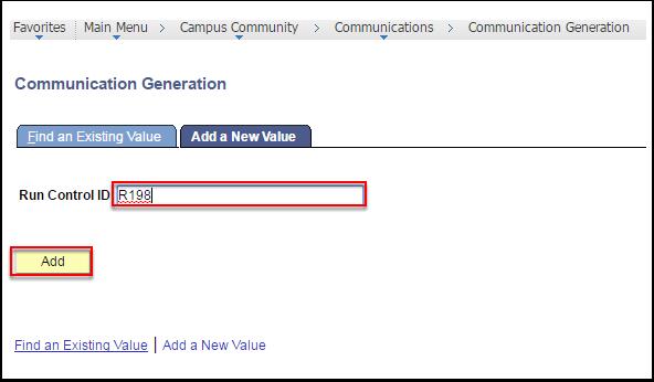 Communication Generation - Add a New Value tab
