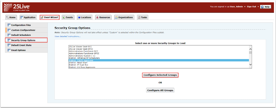 Select Security Group to assing Wizard