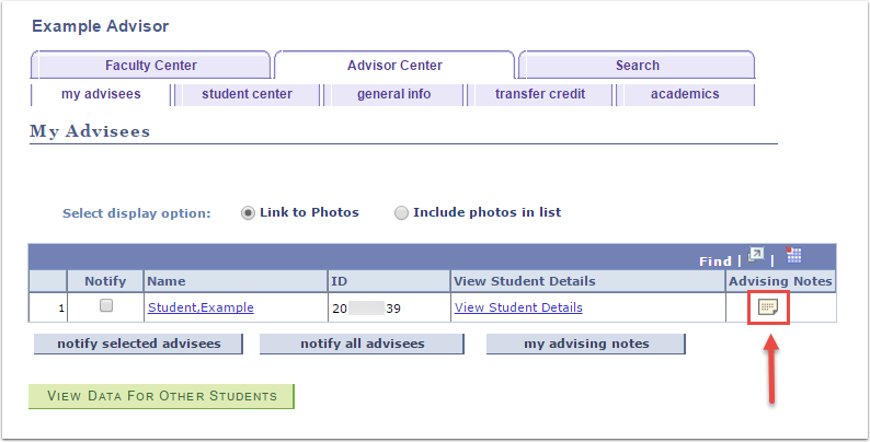 My Advisees page