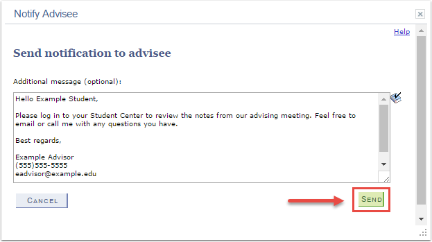 Notify Advisee page