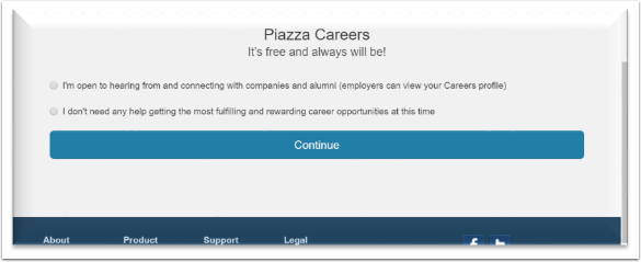 option to receive information about piazza careers