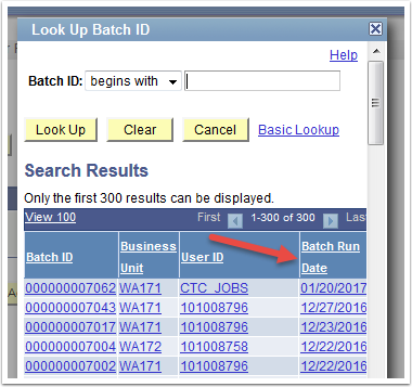 Look Up Batch ID page