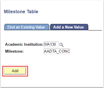 Milestone Tabel - Add a New Value tab