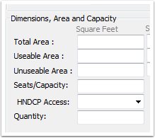 Dimensions, Area and Capacity fields