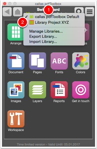 Select the new library in the Switchboard panel