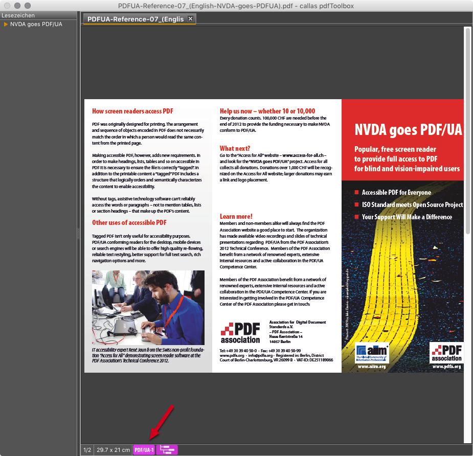 PDF/UA-Prüfung findet Probleme