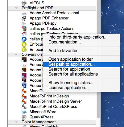 set path to application