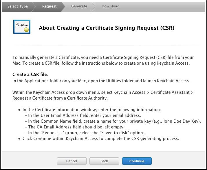 Create a Certificate Signing Request