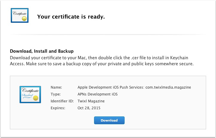 Generate & download the certificate, and add it to your Keychain