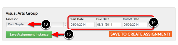 Step 5: Save Assignment Instance