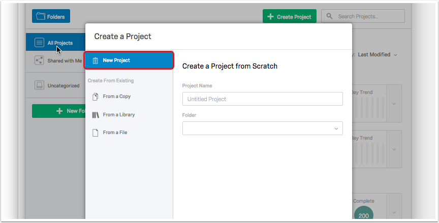 New Project link