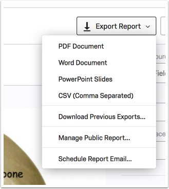 Export Report context menu